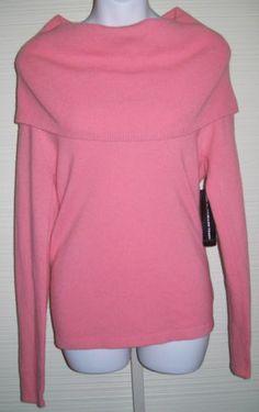 SOLD!  NWT Cashmere Cowl Boat Neck Sweater Top Small Linda Allard Ellen Tracy Guava