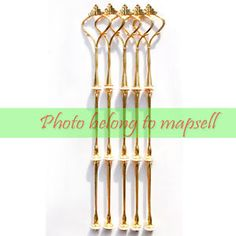 5pcs Wedding Party 3 Tier Cake Plate Stand Center Handle Rods Fitting gold