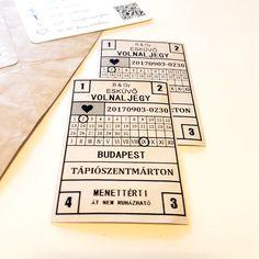 DIY rustic vintage wedding invitation - oldschool bus ticket