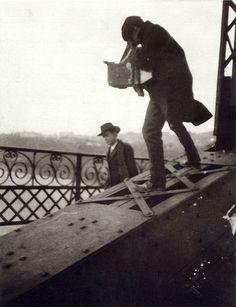 Alfred Stieglitz Photographing on a Bridge, ca. 1905
