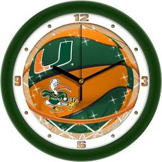 Miami Hurricanes Slam Dunk Wall Clock