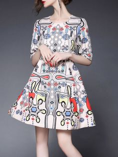 Printed Polyester Mini dress