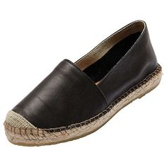 BuySelected Femme Marley Leather Slip On Espadrilles, Black, 3 Online at johnlewis.com
