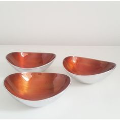Fairtrade Recycled Aluminium Set of 3 Small Oval Bowls Burnt Orange £18.00