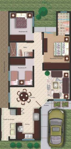 california residencial modelo santa barbara - Buscar con Google Dream House Plans, Modern House Plans, House Floor Plans, Layouts Casa, House Layouts, Small Floor Plans, Small House Plans, Small Space Interior Design, Small House Design