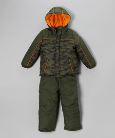 Take a look at this Olive Camo Puffer Coat & Bib Pants - Infant, Toddler & Boys on zulily today!