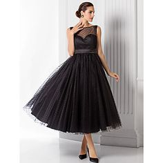 A-line/Princess Bateau Tea-length Tulle Evening Dress (1301053) - BRL R$ 241,57