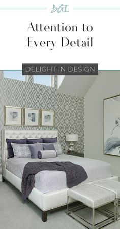 A cool plum and silver master bedroom with all the details.custom bedding, original artwork, spectacular wallpaper, all the feels! Contemporary Interior Design, Home Interior Design, Home Decor Inspiration, Design Inspiration, Dallas, Custom Bedding, Bedroom Photos, Transitional House, Commercial Design