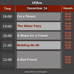 Good morning from Iran. Here is today's #iFilm schedule.   Peace.