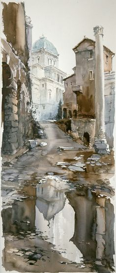 Learn The Basic Watercolor Painting Techniques For Beginners – Ideas And Projects I like the different looking water colors in this images, gives a cooler tone to it. Art Aquarelle, Art Watercolor, Watercolor Painting Techniques, Watercolor Landscape, Watercolor Architecture, Urban Sketching, Amazing Art, Art Drawings, Scenery