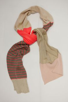 Emily Green x Lucy Hall - Neon and Neutral Stripe Scarf in Neon Red