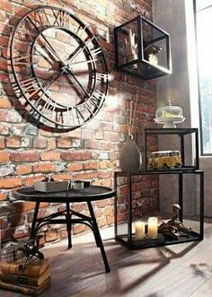 clock clock indus interior decoration deco indus industrial decoration industrial style deco vintage wall red bricks Source by rhinov_ Vintage Industrial Decor, Industrial Interior Design, Industrial Style, Industrial Clocks, Big Wall Clocks, Red Brick Walls, Loft Interiors, Interior Decorating Styles, Decorating Ideas