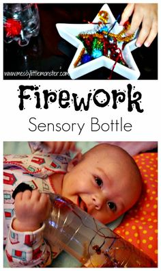 How to make a firework sensory bottle. Activity ideas for babies and toddlers. Great for bonfire night or new years eve celebrations. Bonfire Crafts For Kids, Bonfire Night Activities, Bonfire Night Crafts, New Year's Eve Activities, Fine Motor Activities For Kids, Sensory Activities Toddlers, Autumn Activities, Infant Activities