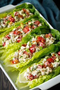BLTA made into a hearty and delicious chicken salad! Perfect wrapped in a lettuce for a lower carb version or serve with bread.