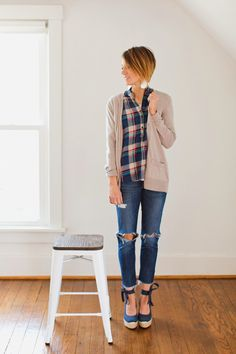 leather earrings, cardigan, destroyed denim, distressed denim, plaid, wedges