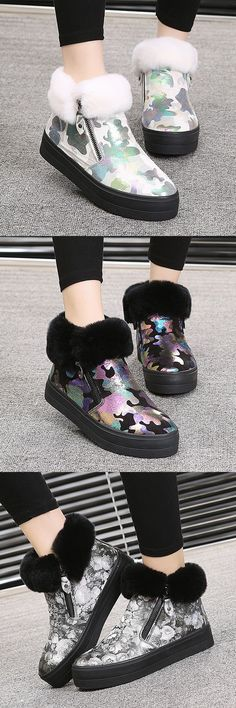 US$23.16 M.GENERAL Graffiti Fur High Top Colorful Painting Style Zipper  Shoes For Women