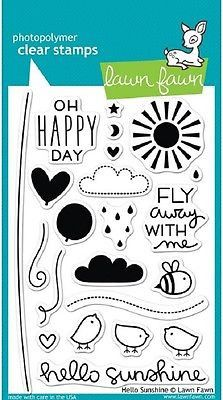 - These 22 clear stamps are sure to brighten your day! This set contains cute birds, balloons, clouds, a sun, and other stamps to coordinate with the Hello Sunshine collection. - Approximate stamp siz