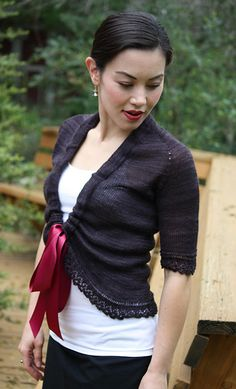 A lovely Barton Cottage Shrug - love the color and wider ribbon!