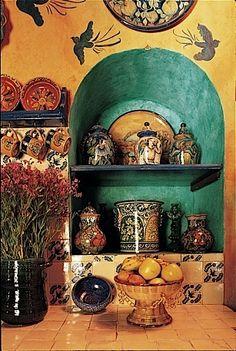 Cocinas Mexicanas Tradicionales - All photos Melba Levick - love the turq the birds. i love mexican style kitchens! Mexican Home Decor, Mexican Art, Mexican Kitchen Decor, Mexican Hacienda Decor, Mexican Colors, Mexican Tiles, Spanish Style Homes, Spanish Revival, Spanish Colonial