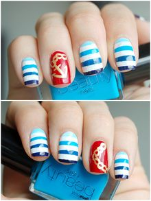 nautical nails  Kleancolor – 004 White  Gina Tricot Beauty – 51 Sky Blue  Gina Tricot Beauty – 52 Azure Blue  Kicks Make Up – Royal Blue  Max Factor Glossfinity – 135 Royal Blue  MAC – Obey Me  Golden Rose nail art Gold