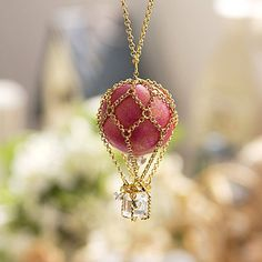 Pink Balloon Necklace by Hazelle Jewellery