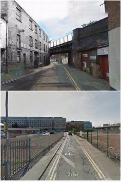 Popham Street, then & then and now. Nottingham City Centre, History Photos, Create Image, Bridges, Old Photos, Britain, Scene, Street, Model