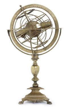 An Italian 17th century style brass armillary sphere, the horizon ring supported by four brackets and engraved with degree scale and wind directions, the primary sphere with three parallel rings and polar circles graduated with degree scales, a zodiacal band engraved with zodiac signs and names attached to the colures, raised on knopped stem and triangular base with paw feet, 22in (56cm) high