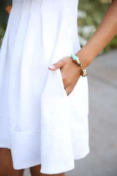 white ~ so beautiful with the deep hem, easy side pocket and the pintucks...... perfect summer dress