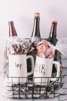 homemade holiday gift basket for the beer lover in your life | a plays well with butter holiday gift basket series | treat the beer lover in your life with a homemade beer gift basket this holiday season with the plays well with butter holiday gift basket series! pair a few great bottles of craft beer with a couple of festive beer glasses & a few handmade bar snacks & you'll totally knock the socks off of any beer nerd!