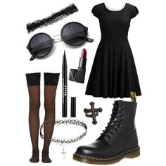 lovely black by melissa-casu on Polyvore featuring polyvore, mode, style, Wolford, Dr. Martens, KATIE Design, ASOS and NARS Cosmetics