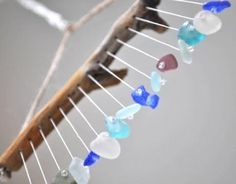 making wind chime with beach glass