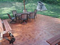 Liquid Antiqued Concrete Stain Patio