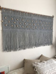 Gray Over bed art, macrame headboard, modern woven decor, Bohemian wall art Macrame Design, Macrame Art, Macrame Projects, Macrame Knots, Macrame Modern, Micro Macrame, Macrame Wall Hanging Patterns, Large Macrame Wall Hanging, Macrame Patterns