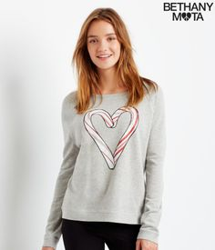 Candy Cane Slouchy Raglan Sweatshirt. The fabric is soft 'n' cozy, and the sparkly heart puts me in such a merry mood.