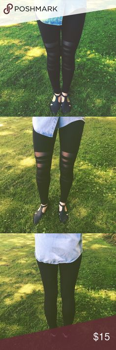 Mesh Criss Cross Leggings Comfortable, soft and stretchy black leggings with strips of fabric across the knees and underlying meshed fabric. No size tag that I could find, but could probably fit a size 4-8, or small to medium. Pants Leggings