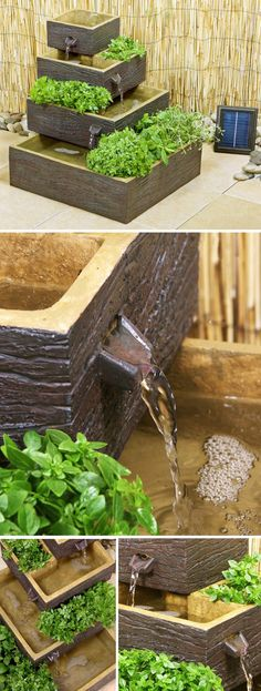 Solar powered tiered water feature/herb planter... imagine little fishies swimming in there!
