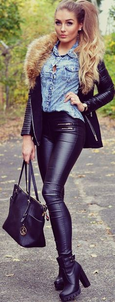 Styleev Denim Shirt Black Booties, Leather Panst And Biker Jacket Fall Inso. I am really digging leather pants lately....