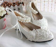 Amazon.com: Getmorebeauty Women's Pearls Across Top Small Heel Wedding Shoes: Shoes