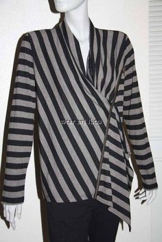 NWT Ronen Chen Knit Top Black Stripes Asymmetric Front Zipper US Sz 12 #RonenChen #KnitTop