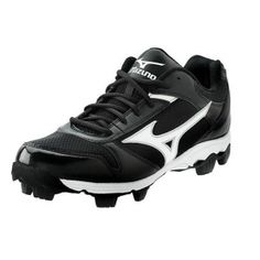 Kids Mizuno Franchise G6 Baseball Cleats Black Leather - ONLY $34.99