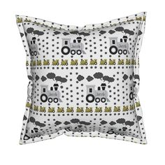 Serama Throw Pillow featuring  Choo Choo Gray - Medium-PERSONALIZED Jacob by drapestudio | Roostery Home Decor