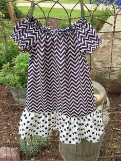 Baby  Girl Clothes, Little Girl Dress, Toddler Summer Dress, Peasant Dress, Navy & Ivory Chevron with Polka Dot Ruffle, Little Girl Clothes by DiMaDaisyBoutique on Etsy