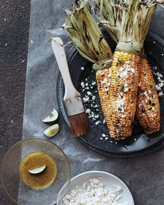 Grilled corn with feta & lime vinaigrette...awesome for a summer time bbq!