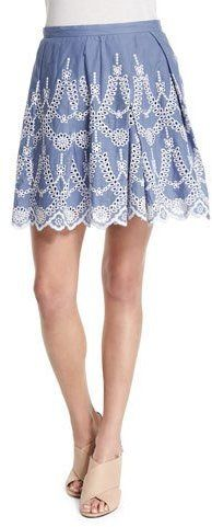 Kendall + Kylie Pleated A-Line Eyelet Skirt, Tempest