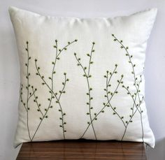Willow Tree Throw Pillow Pussy Willow Embroidered Linen Couch Pillow Bedroom Apartment Decor Cushion - Pillows Case - Ideas of Pillows Case - Willow Tree Pillow Cover Cream Linen Pillow Green by KainKain Sewing Pillows, Diy Pillows, Linen Pillows, Living Room Decor Pillows, Cushions, Throw Pillows, Handmade Pillows, Couch Pillows, Living Rooms