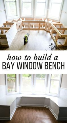 homedecor diy This gorgeous built-in bay window seating is a project you can totally do yourself - its perfect for dining room seating or a bay window in a living room! Here are all the details on how to build DIY banquette seating for your bay window. Banquette Seating In Kitchen, Kitchen Benches, Built In Dining Room Seating, Kitchen Booth Seating, Kitchen Booths, Living Room Seating, Kitchen Banquette Seating, Bench In Living Room, Dining Bench Seat