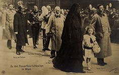 The Blessed Emperor Charles at the funeral of the late Emperor Franz Joseph, the saint's great uncle, in November 1916. Between the Blessed Charles and his Empress, Zita of Bourbon-Parma, is Crown Prince Otto. Otto lives today, and is the head of the Hapsburg family.