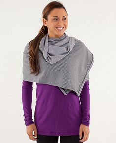 Vinyasa Scarf II from Lulumon, it comes in very neutral colors and can be worn in so many different ways.