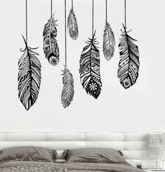 Wall Vinyl Decal Feather Romantic Bedroom Freedom Decor z3684
