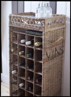 Hand-woven wine rack, made from grey dyed cane, for twenty-eight bottles of wine. Wine Baskets, Storage Baskets, Wine Rack Storage, Wine Racks, Rivera Maison, Bamboo Crafts, Bamboo Design, Upcycled Home Decor, Laundry Room Organization